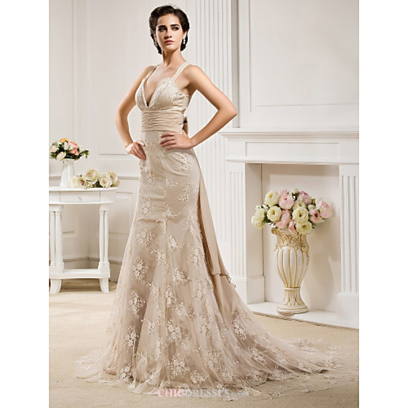 Lace Mermaid Wedding Gown With Straps: Trumpet/Mermaid Plus Sizes Wedding Dress