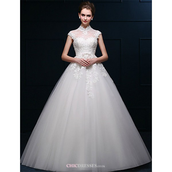 A-line Floor-length Wedding Dress -High Neck Tulle Wedding Dresses