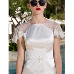 A-line Plus Sizes Wedding Dress - Ivory Floor-length Scoop Lace/Stretch Satin Wedding Dresses