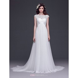 A-line,Princess Court Train Wedding Dress -Bateau Tulle