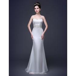 Sheath Column Court Train Wedding Dress Straps Lace