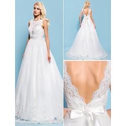 Ball Gown Plus Sizes Wedding Dress Ivory Court Train Bateau Tulle