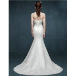 Trumpet/Mermaid Wedding Dress - Ivory Sweep/Brush Train Scalloped-Edge Lace Wedding Dresses
