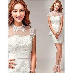 Sheath Column Short Mini Wedding Dress High Neck Lace