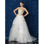 A-line/Princess Plus Sizes Wedding Dress - Ivory Floor-length Strapless Satin/Tulle/Lace Wedding Dresses