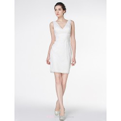 Sheath Column Wedding Dress Ivory Short Mini V Neck Lace