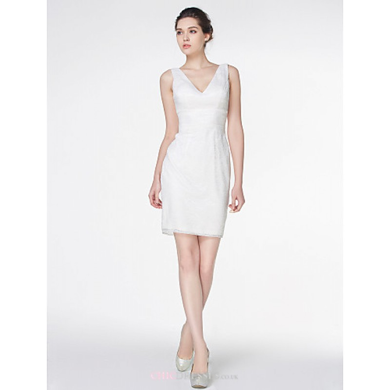 Sheath/Column Wedding Dress - Ivory Short/Mini V-neck Lace,Cheap Uk ...