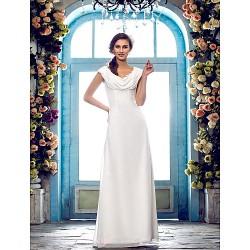 Sheath/Column Plus Sizes Wedding Dress - Ivory Floor-length Cowl Chiffon