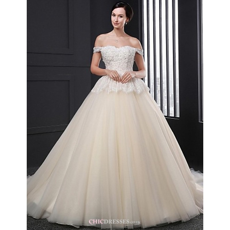 Ball gown wedding dress champagne court train strapless for Champagne ball gown wedding dresses
