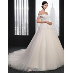 Ball Gown Wedding Dress - Champagne Court Train Strapless Tulle Wedding Dresses