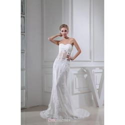 Sheath/Column Wedding Dress - White Court Train Sweetheart Chiffon/Tulle