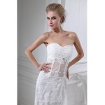Sheath/Column Wedding Dress - White Court Train Sweetheart Chiffon/Tulle Wedding Dresses