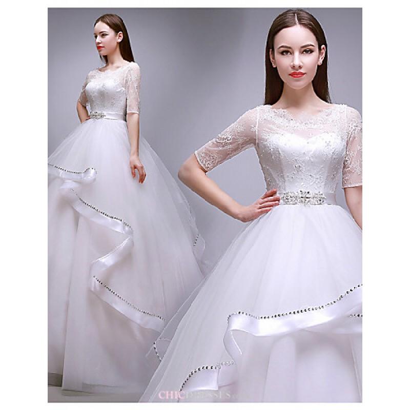 Ball Gown Floor-length Wedding Dress -Jewel Tulle,Cheap Uk