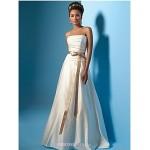 A-line Wedding Dress Court Train/Floor-length Strapless Satin Chiffon Wedding Dresses
