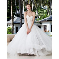 Ball Gown Plus Sizes Wedding Dress - Ivory Floor-length Sweetheart Charmeuse/Stretch Satin