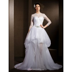 A Line Wedding Dress White Court Train Jewel Lace Tulle