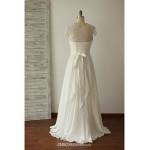 A-line Wedding Dress - Ivory Floor-length Jewel Chiffon / Lace Wedding Dresses