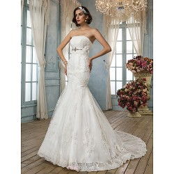 Trumpet Mermaid Wedding Dress Ivory Court Train Strapless Satin Lace