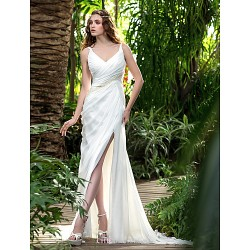 Sheath/Column Wedding Dress - Ivory Court Train V-neck Chiffon
