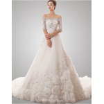 A-line Wedding Dress - White Chapel Train Off-the-shoulder Tulle Wedding Dresses
