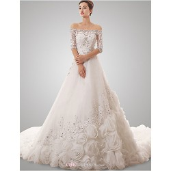 A Line Wedding Dress White Chapel Train Off The Shoulder Tulle
