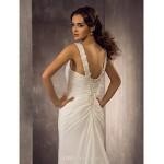 Sheath/Column Plus Sizes Wedding Dress - Ivory Sweep/Brush Train Straps Chiffon Wedding Dresses