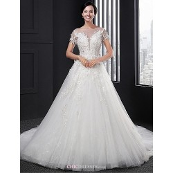A Line Wedding Dress White Court Train Scoop Lace