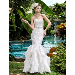 Fit & Flare Wedding Dress Ivory Floor Length Strapless Satin