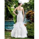 Fit & Flare Wedding Dress - Ivory Floor-length Strapless Satin Wedding Dresses