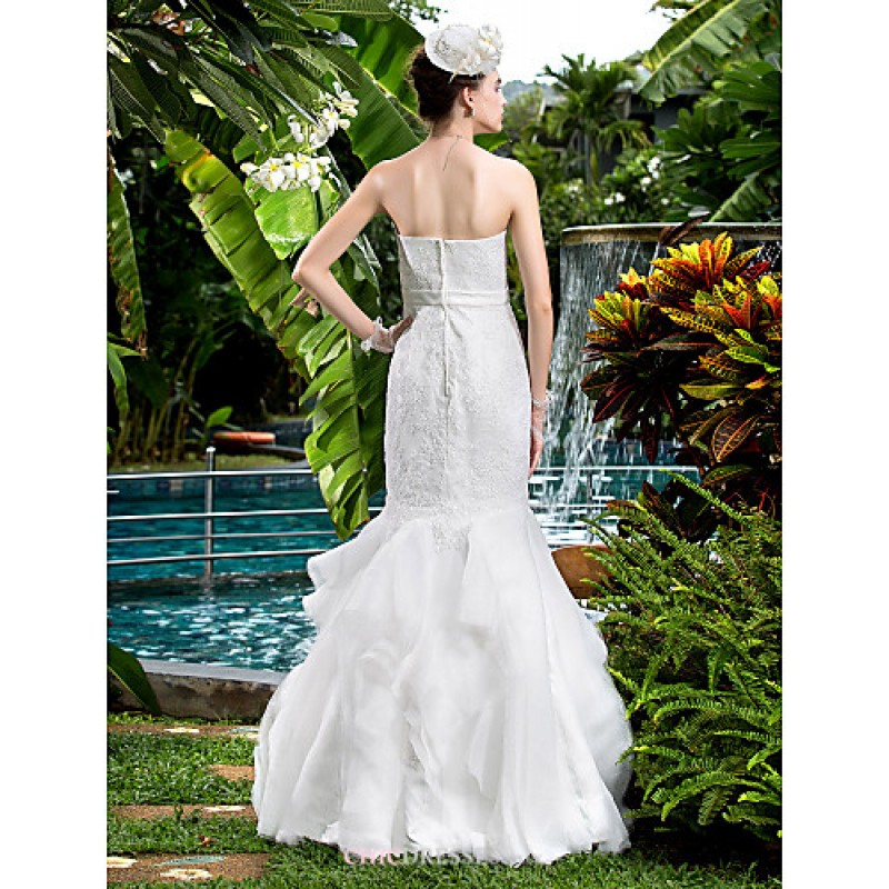 Fit Amp Flare Wedding Dress Ivory Floor Length Strapless