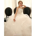 Ball Gown Wedding Dress - Ivory Floor-length Sweetheart Tulle/Charmeuse Wedding Dresses