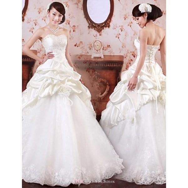 A-line Ankle-length Wedding Dress -Off-the-shoulder Satin Wedding Dresses
