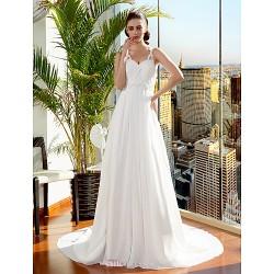 A Line Princess Wedding Dress Ivory Court Train Spaghetti Straps Chiffon