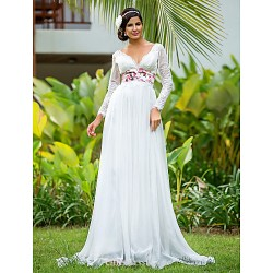 Sheath Column Plus Sizes Wedding Dress Ivory Floor Length V Neck Chiffon Lace