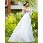 Sheath/Column Plus Sizes Wedding Dress - Ivory Floor-length V-neck Chiffon/Lace Wedding Dresses