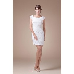 Sheath Column Wedding Dress Ivory Short Mini Scoop Satin