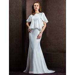Sheath Column Wedding Dress Ivory Court Train Jewel Satin