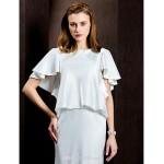 Sheath/Column Wedding Dress - Ivory Court Train Jewel Satin Wedding Dresses