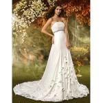 A-line Wedding Dress - Ivory Court Train Strapless Chiffon Wedding Dresses