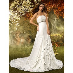 A Line Wedding Dress Ivory Court Train Strapless Chiffon