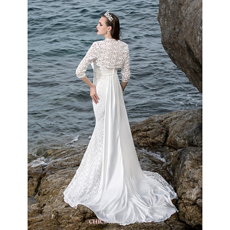 fbf1fc40a ... Trumpet/Mermaid Plus Sizes Wedding Dress - Ivory Court Train Sweetheart  Satin/Lace Wedding ...