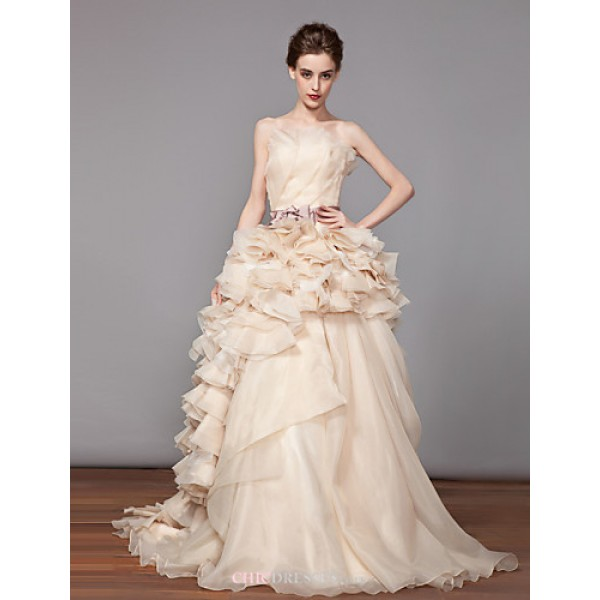 A-line Wedding Dress - As Picture Chapel Train Strapless Organza Wedding Dresses