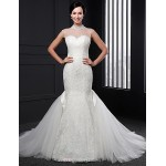 Trumpet/Mermaid Wedding Dress - Ivory Sweep/Brush Train High Neck Lace Wedding Dresses
