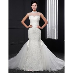 Trumpet/Mermaid Wedding Dress - Ivory Sweep/Brush Train High Neck Lace