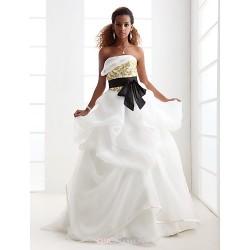 Ball Gown Plus Sizes Wedding Dress Ivory Sweep Brush Train Strapless Satin Organza