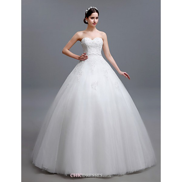 Ball Gown Floor-length Wedding Dress -Strapless Tulle Wedding Dresses