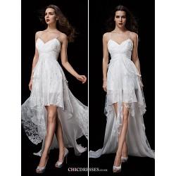 A Line Wedding Dress Ivory Court Train Spaghetti Straps Chiffon Lace