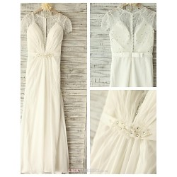 A Line Wedding Dress Ivory Floor Length V Neck Chiffon Lace