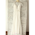 A-line Wedding Dress - Ivory Floor-length V-neck Chiffon / Lace Wedding Dresses