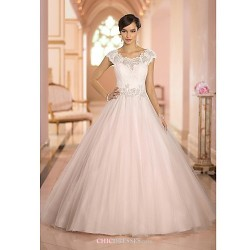 Ball Gown Sweep Brush Train Wedding Dress Scoop Tulle